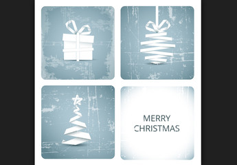 Paper Style Christmas Decorations Banner with Grunge Texture