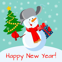 """Russian snowman in """"ushanka""""(in a fur hat) with Christmas tree and gift"""