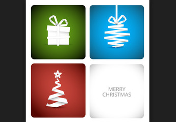 Paper Style Christmas Decorations Banner on Colored Backgrounds