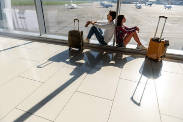 Loving couple in anticipation of trip