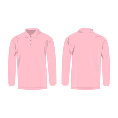 Baby pink polo with long sleeve isolated vector