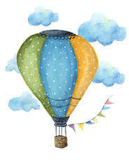 Watercolor hot air balloon set. Hand drawn vintage air balloons with flags garlands, clouds, polka dot pattern and retro design. Illustrations isolated on white background. For design, print and
