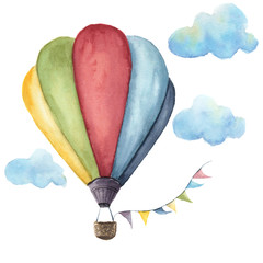 Watercolor hot air balloon set. Hand drawn vintage air balloons with flags garlands, clouds and retro design. Illustrations isolated on white background