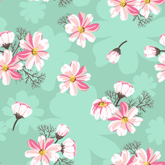 Seamless pattern with daisies on a green background. Bright floral background for your design. Vector illustration.