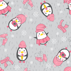 Seamless background with cute penguins.