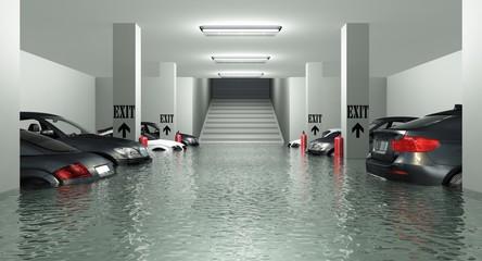 Überflutete Tiefgarage