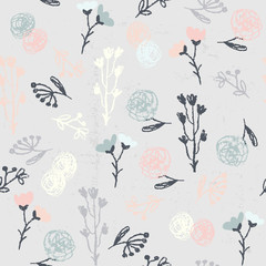 Fototapete - Hand-drawn endless herbal pattern
