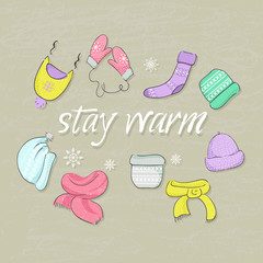 Hand-drawn warm clothes vector background