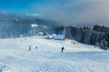 Snowboarding in Bukovel.