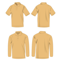 Light brown polo shirt and polo with long sleeve isolated vector set