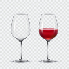 Set transparent vector wine glasses
