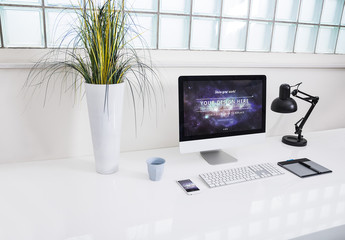 Desktop Computer at an Office Desk Mockup 5