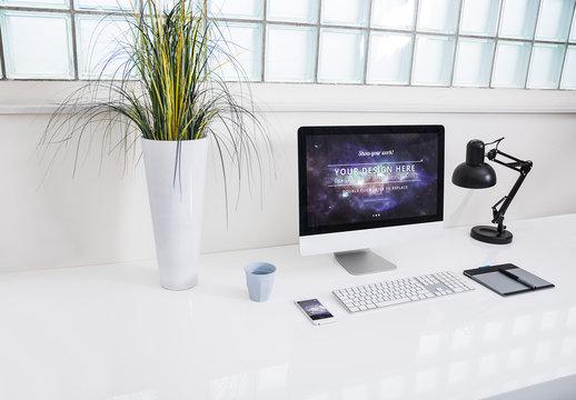 Desktop Computer at an Office Desk Mockup 5