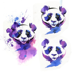 The Panda is drawn with a brush and watercolor