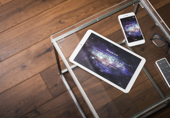 Tablet and Smartphone on Glass Table Mockup