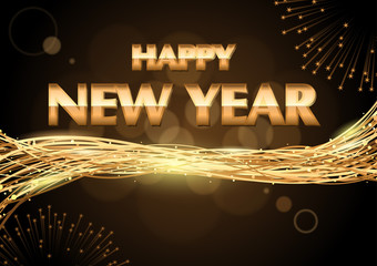 Happy New Year Greeting over Bokeh Background with Golden Lines and Fireworks - Abstract Background Illustration, Vector