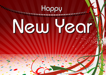 Happy New Year Background with Colorful Confetti and Light Beams Stripes - Abstract Illustration, Vector