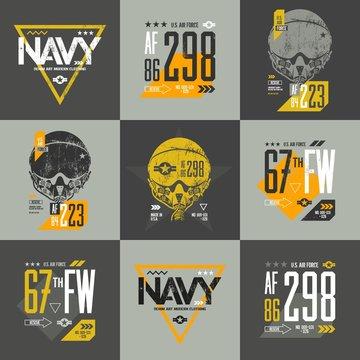 American air force grunge effect number t-shirt design vector set. Threadbare aviation pilot helmet tee print emblem. Shabby aircraft illustration and military number t-shirt logo concept.