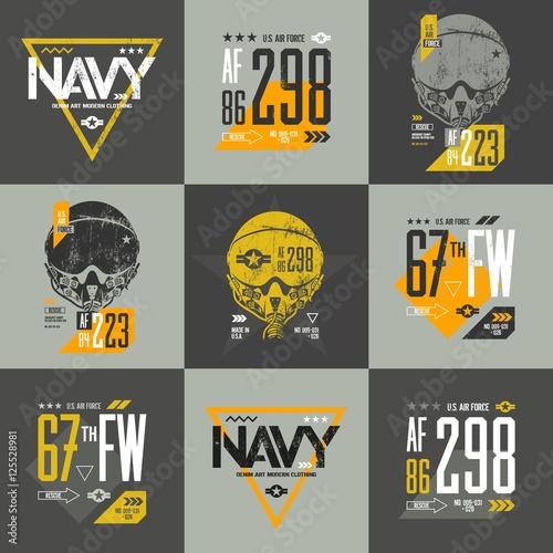 0194699d American air force grunge effect number t-shirt design vector set.  Threadbare aviation pilot helmet tee print emblem. Shabby aircraft  illustration and ...