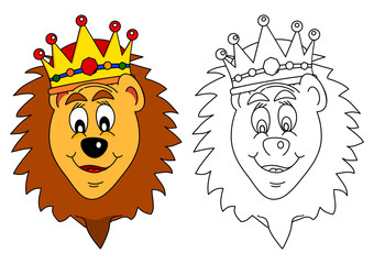 King of beasts crown - lion as a coloring book for young children - vector svg