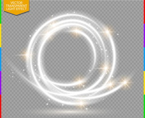 Canvas Print - Abstract vector magic glow star trail light effect with neon blur curved line round flying. Sparkling dust with bokeh. Special white and golden christmas effect on transparent background.