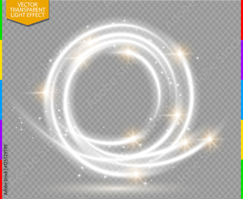 Wall mural Abstract vector magic glow star trail light effect with neon blur curved line round flying. Sparkling dust with bokeh. Special white and golden christmas effect on transparent background.