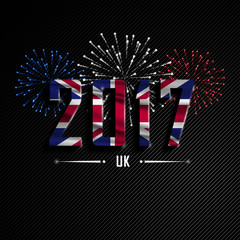 Happy New Year and Merry Christmas. Wavy flag of UK. Colorful fireworks. Beautifully decorated congratulations country.Merry Christmas greeting. Holiday card, banner. Great Britain