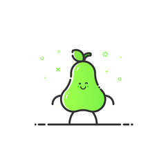 Vector illustration of funny pear character cartoon isolated in line style. Linear green cute fruit icon with face smile. Flat design for banner, web page and mobile app. Outline vegan expression.