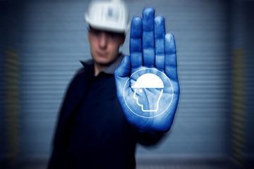 STOP! Kopfschutz benutzen Piktogramm Arbeitssicherheit