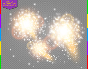 Wall Mural - Abstract golden sparkling firework effect with white sparks modern design. Glow flash light. Sparkles light vector on transparent background. Holiday Concept.