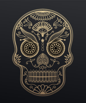 Sugar Skull day of the dead. Mexican style golden effect skull i
