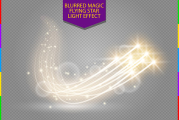 Abstract vector magic glow star light effect with neon blur curved lines. Sparkling dust star trail with bokeh. Special white and golden christmas effect on transparent background Fotoväggar
