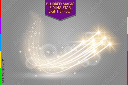 Canvas Prints Abstract vector magic glow star light effect with neon blur curved lines. Sparkling dust star trail with bokeh. Special white and golden christmas effect on transparent background