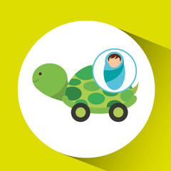 boy newborn wrap tortoise toy design vector illustration eps 10