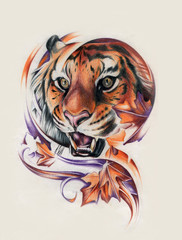 tiger drawn with a pencil on paper