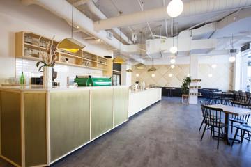 Interior of empty cafeteria