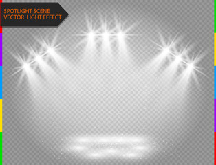 White vector spotlight light effect on transparent background. Concert scene with sparks illuminated by glow ray. Abstract star flash.