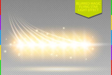 Wall Mural - Abstract vector magic glow star light effect blur line. Sparkling dust star row. Special white and golden christmas effect on transparent background