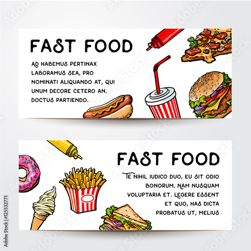 set of two sketch style hand drawn fast food banner vector templates