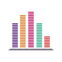 graphic bars statistics chart icon over white background. colorful design. vector illustration