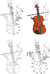 Cartoon funny violin. Coloring book and dot to dot game for kids