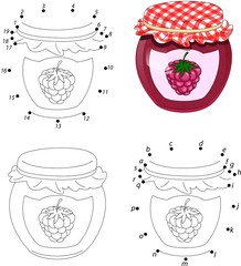 Bank of raspberry jam isolated on white. Coloring book and dot t