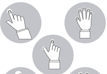 5 Grayscale Tapping and Swiping Hands Icons