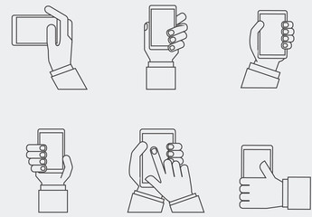 9 Grayscale Hands Holding Tablets and Smartphones Icons