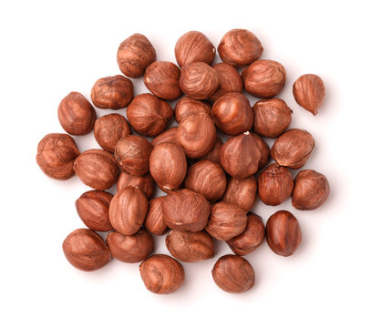 Top view of shelled hazelnuts