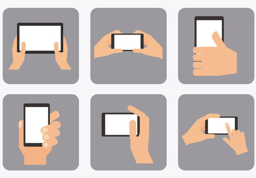 9 Hands Holding Tablets and Smartphones Icons