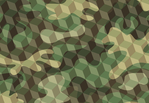 Textured Green Military Camouflage Pattern