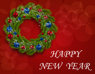 Christmas wreath on a postcard. Green branch of fir with red and blue balls on a red background. Happy New Year. illustration
