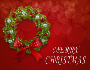 Christmas wreath on a postcard. Green fir branches with a bow, red and silver baubles on a red background. Congratulation to Christmas. illustration