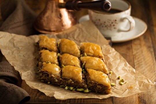 Homemade baklava with nuts and honey